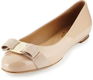 Salvatore Ferragamo Varina Patent Leather Bow Flat, New Bisque