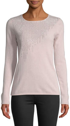 Neiman Marcus Cashmere Rhinestone-Trimmed Sweater