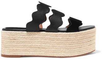 Chloé Lauren Scalloped Suede And Textured-leather Espadrille Platform Slides - Black