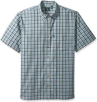 G.H. Bass & Co. Men's Size Big and Tall Short Sleeve Seersucker Small Plaid Shirt