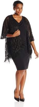 Amy Byer Women's Plus-Size Sheath Dress with Added Soft Stretchable Fabric Cascade Jacket