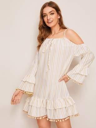 Shein Cold Shoulder Striped Tie Front Ruffle & Pom Pom Trim Dress