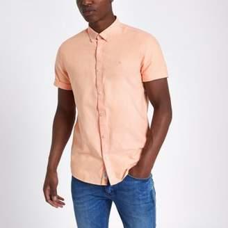 River Island Mens Peach orange short sleeve Oxford shirt