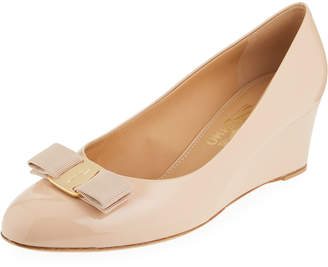 Salvatore Ferragamo Mirabel Patent Bow Demi-Wedge Pumps, New Bisque