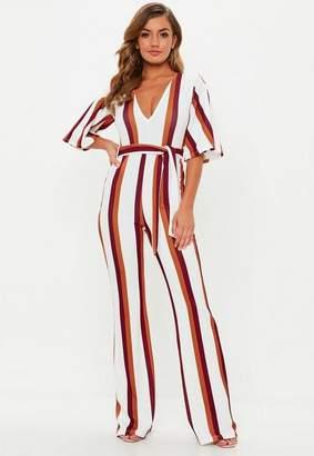 Missguided Stripe Plunge Kimono Sleeve Playsuit