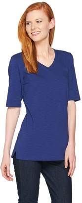 C. Wonder Essentials Slub Knit V-neck Elbow Sleeve Tunic