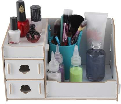RICH Wooden Drawer Type Cosmetic Storage Box Containing Rack m akeup Organizer