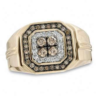 Zales Men's 3/4 CT. T.W. Enhanced Champagne and White Diamond Ring in 10K Gold