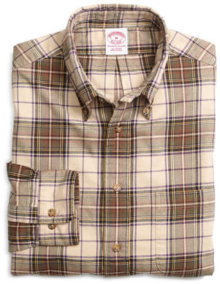 Brooks Brothers Regular Fit Khaki Plaid Flannel Sport Shirt
