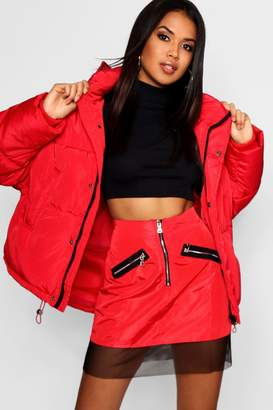 boohoo Oversized Hooded Puffer Jacket