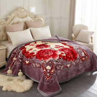 """Unbranded Fleece Blanket, Weighted Blanket 10 lbs, 900GSM Heavy Blanket for Anxiety - Plush Soft Warm, Korean Style 2 Ply Printed Raschel Bed Blankets King Size 85"""" x 93"""""""