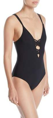 Red Carter Strappy Maillot One-Piece Swimsuit