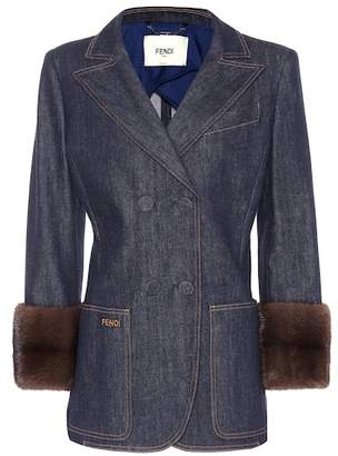 Fendi Fur-trimmed denim blazer