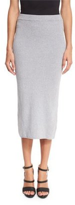 MICHAEL Michael Kors Ribbed Midi Skirt, Pearl Heather $125 thestylecure.com