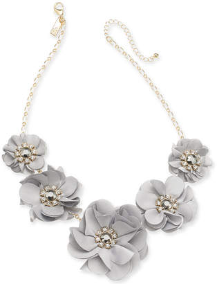 """INC International Concepts I.N.C. Gold-Tone Crystal & Stone Fabric Flower Statement Necklace, 19"""" + 3"""" extender, Created for Macy's"""