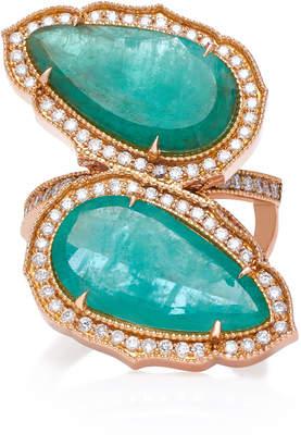 Sara Weinstock 18K Gold, Emerald And Diamond Ring Size: 7