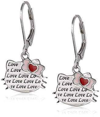 Hello Kitty Sterling Heart Bow Love Engraved Silhouette Leverback Earrings