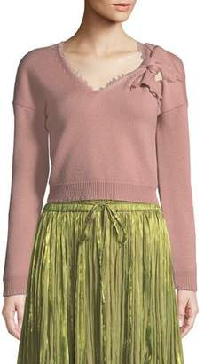 RED Valentino Wool V-Neck Sweater with Bow Detail
