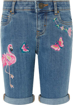 Monsoon Farrah Flamingo Long Denim Shorts