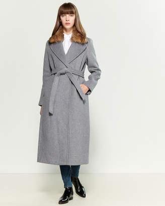 Sandova Real Fur Collar Belted Coat