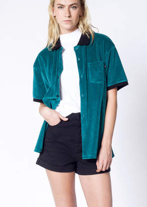 Obey Catalina Velvet Polo Button Up | Wildfang - Catalina Polo Button Up - BLUE - MEDIUM