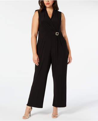 Jessica Howard Plus Size Embellished V-Neck Jumpsuit