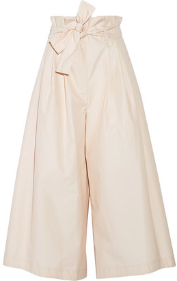Fendi - Pleated Cotton-poplin Culottes - Ecru $1,450 thestylecure.com