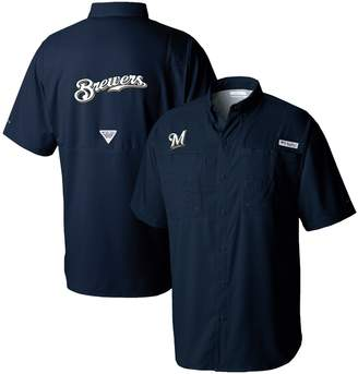Columbia Unbranded Men's Navy Milwaukee Brewers Tamiami Button-Down Omni-Shade Shirt