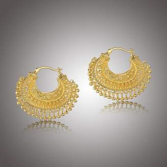 18k Gold Over Fine Silver Plated Bronze Indian Ethnic Chand Bali Hoop Earrings