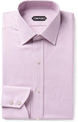 Tom Ford Pink Slim-Fit Micro-Gingham Cotton Shirt - Men - Pink