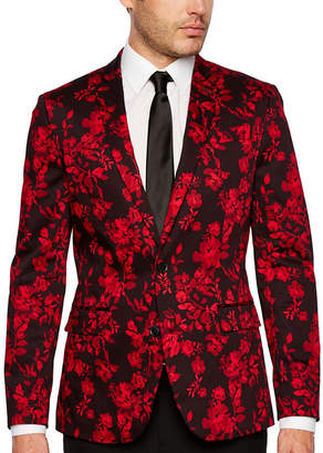 Jf J.Ferrar Holiday Red Floral Super Slim Fit Sport Coat