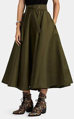Martin Grant Women's Cotton Twill Midi-Skirt - Green