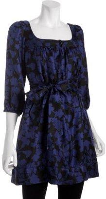 Shoshanna cobalt floral silk belted tunic