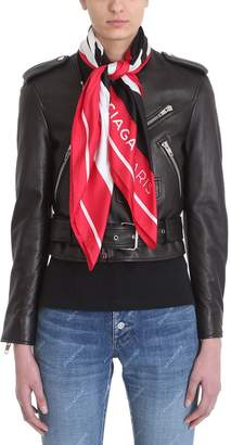 Balenciaga Scarf-detailed Leather Biker Jacket