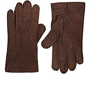 Barneys New York MEN'S CASHMERE-LINED SUEDE GLOVES-DK. BROWN SIZE 8