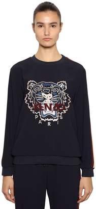 Kenzo Tiger Embroidered Crepe Sweatshirt