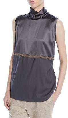 Brunello Cucinelli Mock-Neck Sleeveless Satin Tank w/ Monili Band