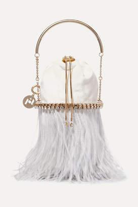 Rosantica Kingham Mini Embellished Feather-trimmed Velvet Bucket Bag - Ivory