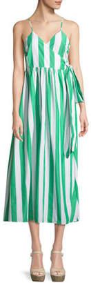 Mara Hoffman Alma Sleeveless Striped Cotton Wrap-Front Maxi Dress
