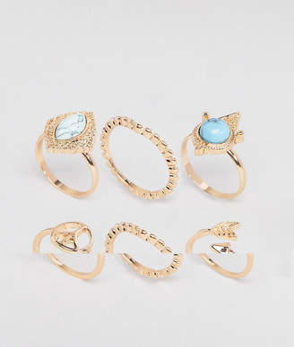 Asos Design Pack Of 6 Mixed Stone And Peace Sign Rings