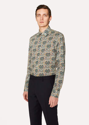 Paul Smith Men's Slim-Fit Green Paisley Print Shirt