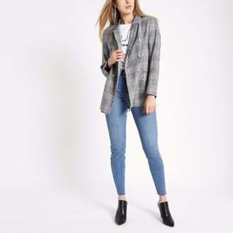 River Island Womens Grey check double breasted style blazer