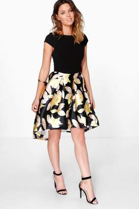 boohoo Boutique Floral Sateen Dip Hem Skater Dress
