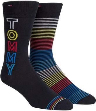 Tommy Hilfiger Men's 2-Pack Striped Crew Socks