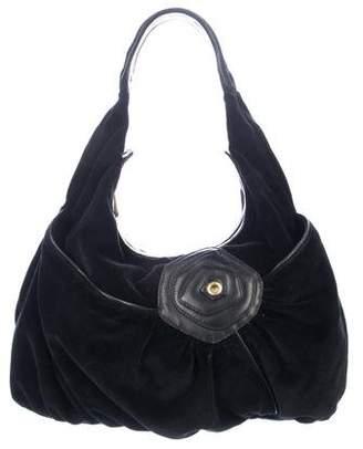 Marc Jacobs Leather-Trimmed Velvet Hobo