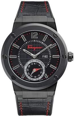 Salvatore Ferragamo Men's F-80 Motion 3 H Quartz FAZ020016 Black Dial Leather/Caoutchouc Strap Watch