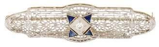 14K Sapphire & Diamond Art Deco Brooch