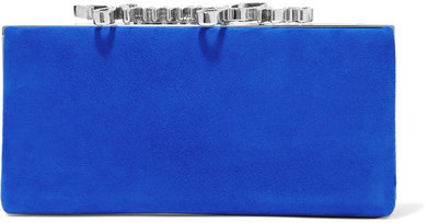 Jimmy Choo Jimmy Choo - Celeste Crystal-embellished Suede Clutch - Cobalt blue