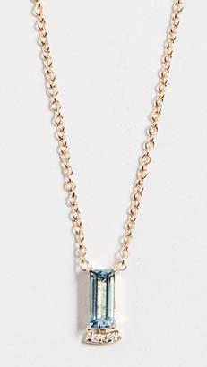 Paige Novick 18k Necklace with Baguette Gemstone & Pave Diamond Bar
