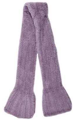 Fur Mink Knit Scarf Purple Fur Mink Knit Scarf
